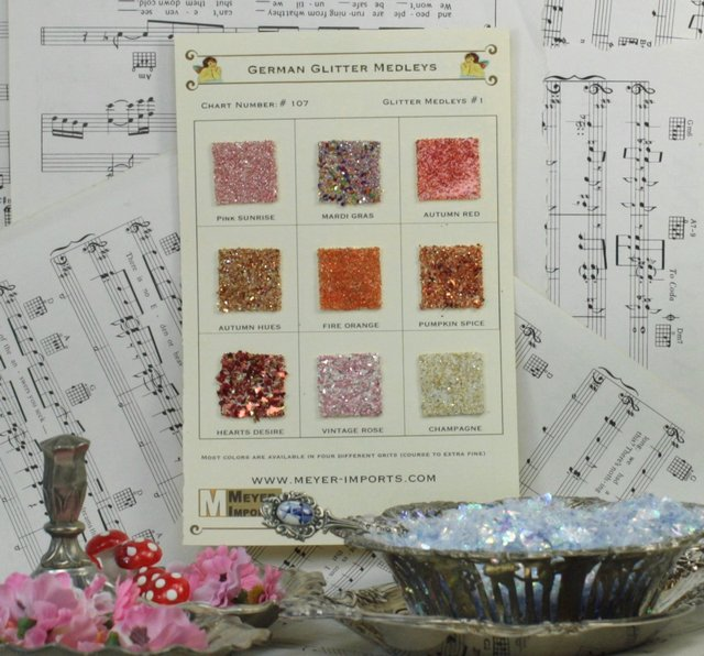 Sample Cards - Glass Glitter Medleys - Warm Blends - 107